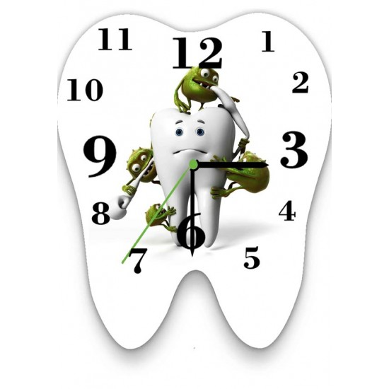 Tooth with Bacteria Wall Clock